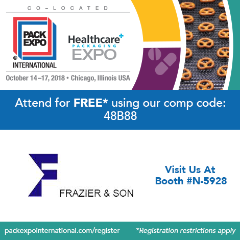 PACK Expo 2018 - Chicago, IL October 14-17, 2018 - Booth N-5928