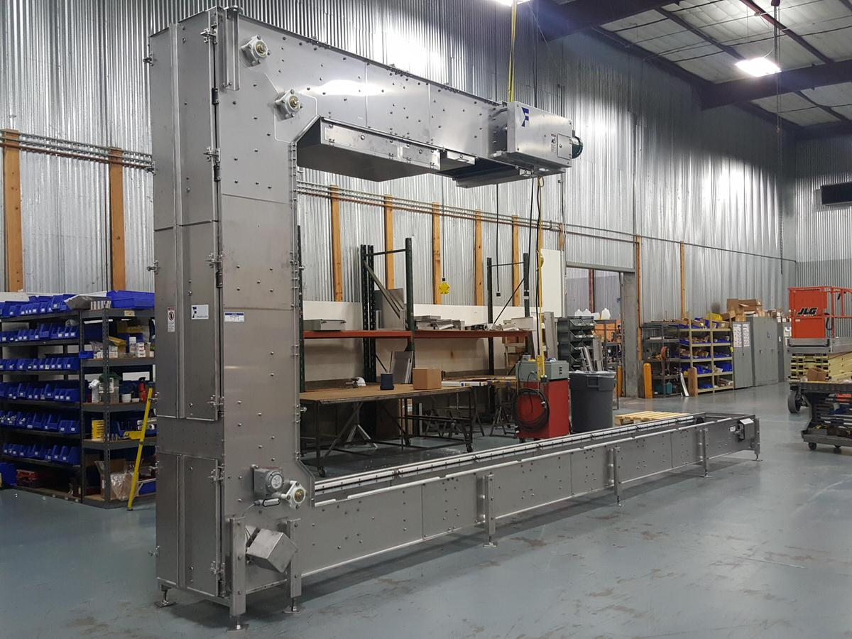 Model CBT-U Bucket Elevator nearing completion on the assembly floor